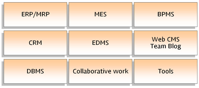 ERP/MRP, MES, BPMS, CRM, EDMS, Web CMS, Team Blog, DBMS, Collaborative work, Tools